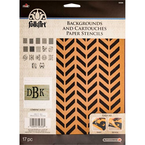 FolkArt ® Alphabet & Monogram Paper Stencils - Backgrounds and Cartouches