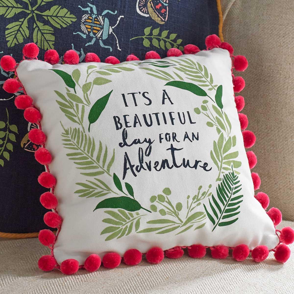 Painted Throw Pillow with Magenta Pom-Pom Trim