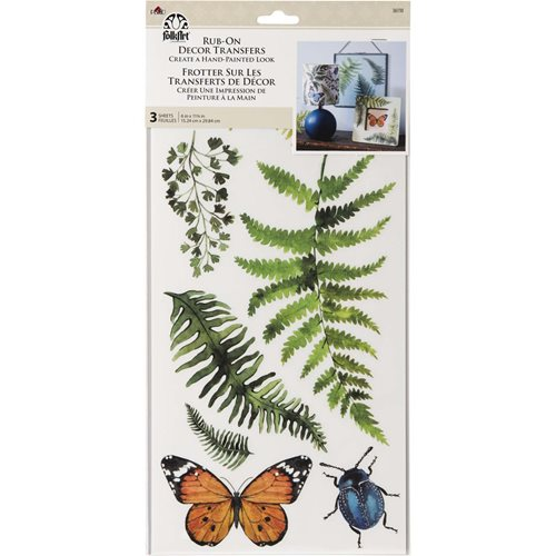 FolkArt ® Rub-On Décor Transfer - Fern and Bugs, 3 pc. - 36110