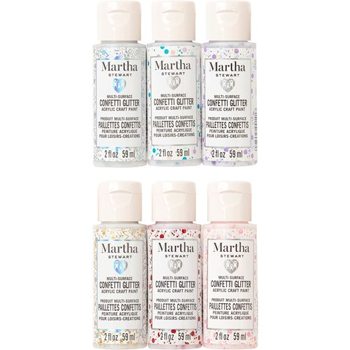 Martha Stewart ® Family Friendly Multi-Surface Confetti Glitter Acrylic Craft Paint 6-Color Set - MS