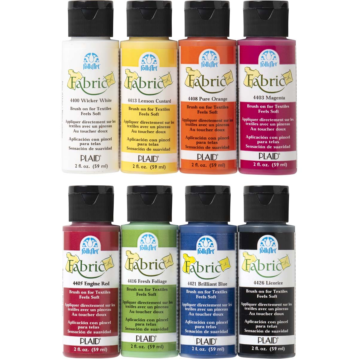 FolkArt ® Fabric™ Paint - Brush On 8 Color Set