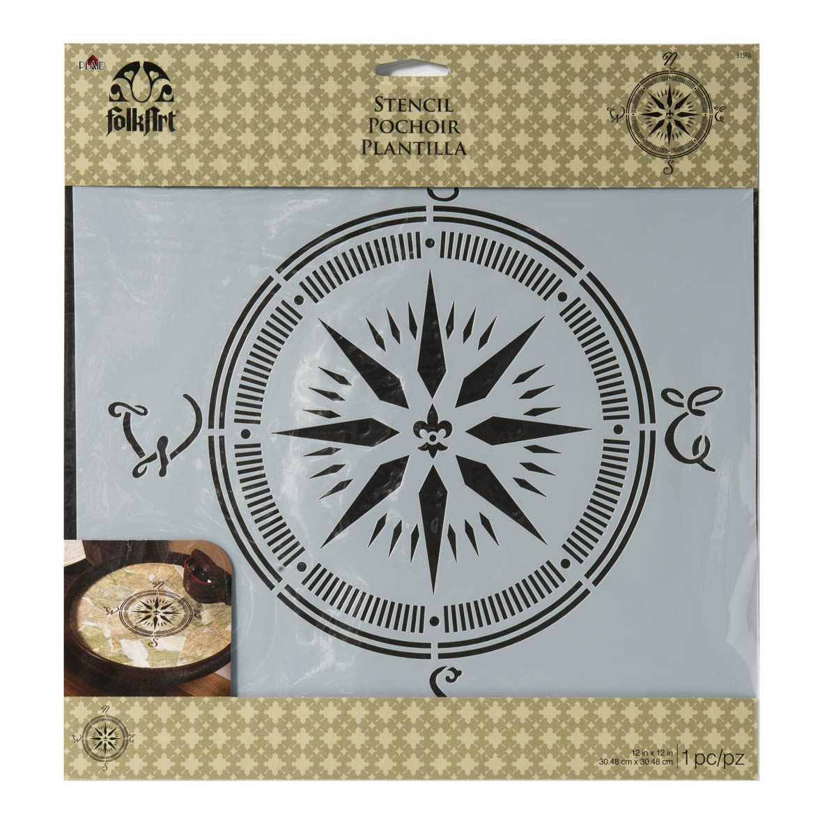 F/A PAINTING STENCIL - COMPASS, 12X12