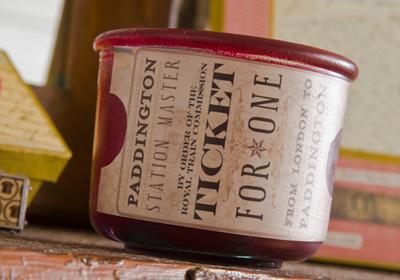 Gifts for Guys - Vintage Travel Ticket Candleholder