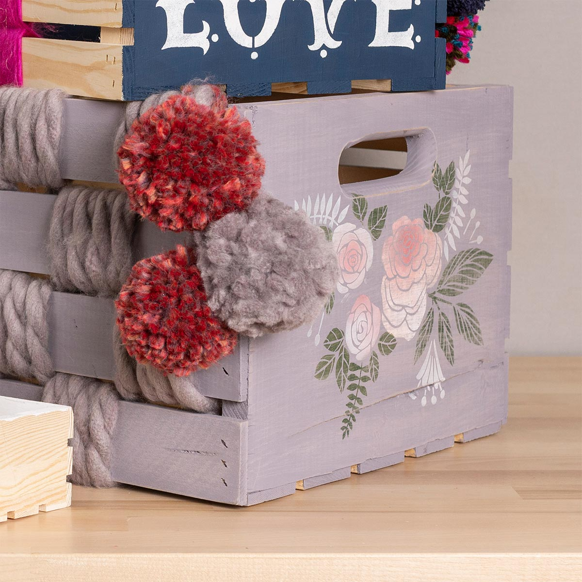 Wood Crate Storage with Yarn Accents