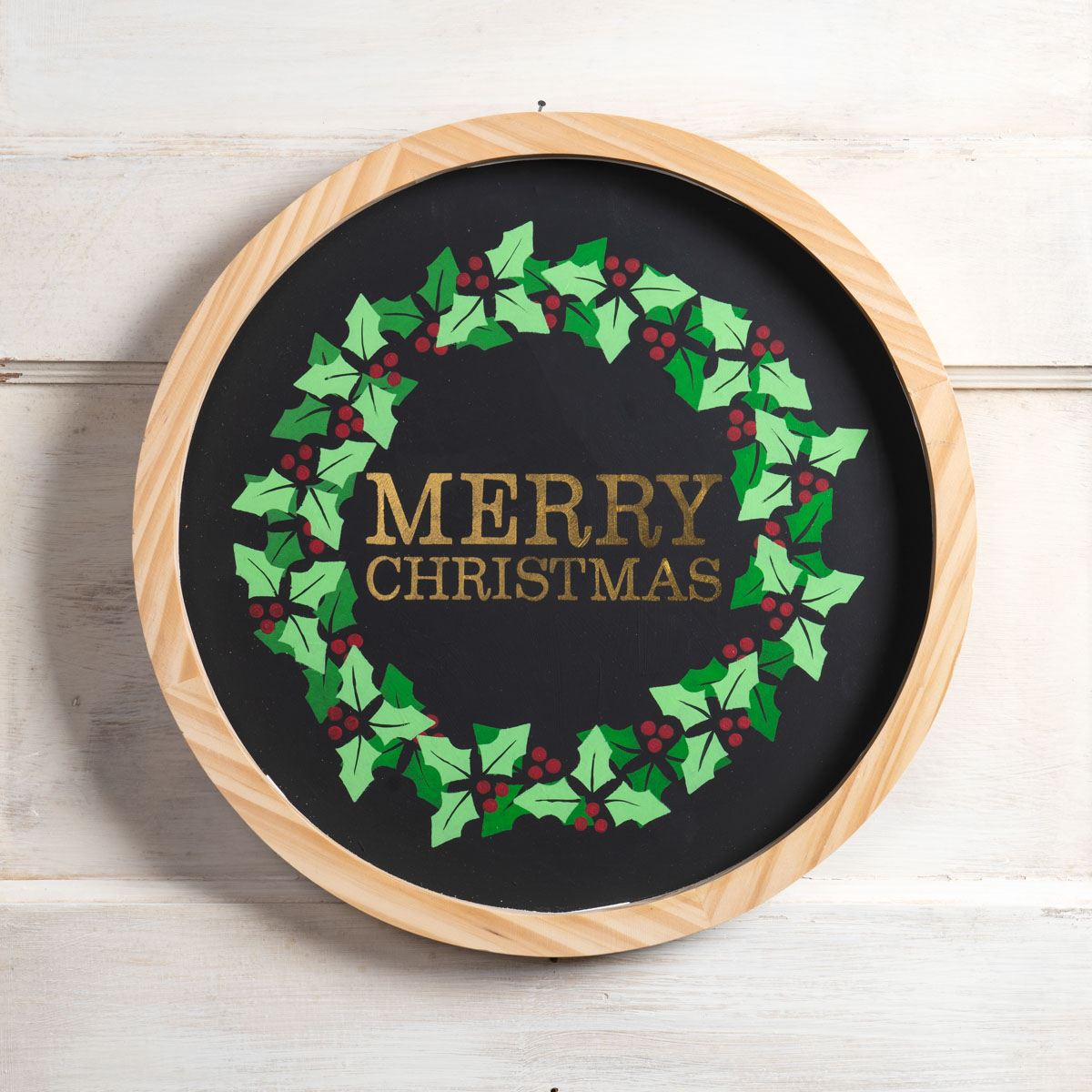 Round Merry Christmas Sign