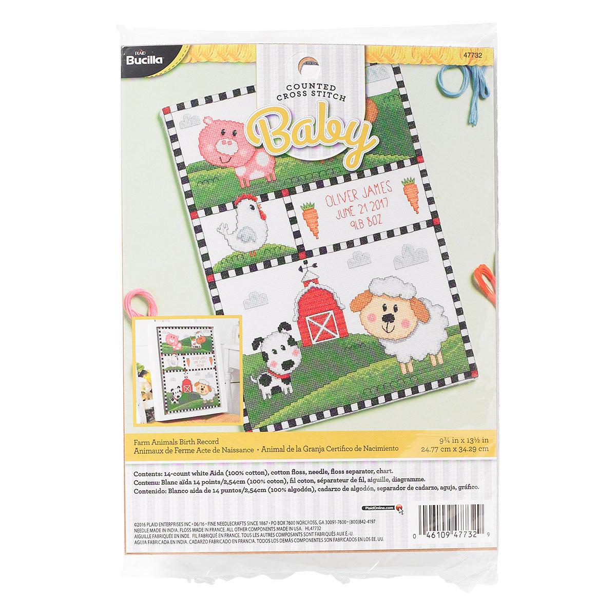 Bucilla ® Baby - Counted Cross Stitch - Crib Ensembles - Farm Animals - Birth Record Kit