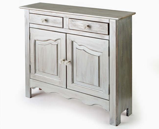 Charming Silver Side Cabinet