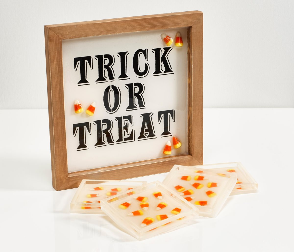 Mod Podge Resin Trick or Treat Candy Corn Sign & Coasters