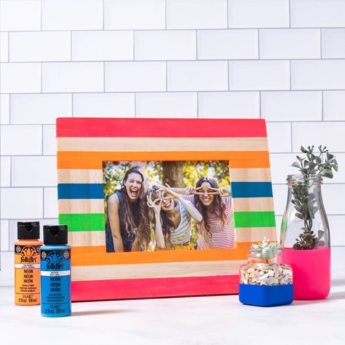 Neon Painted Picture Frame and Milk Jar