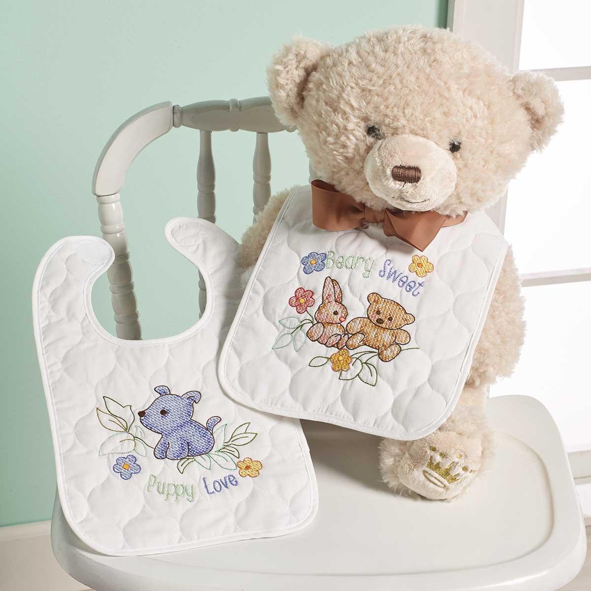 Bucilla ® Baby - Stamped Cross Stitch - Crib Ensembles - Hallmark - Playful Pals - Bib Pair Kit