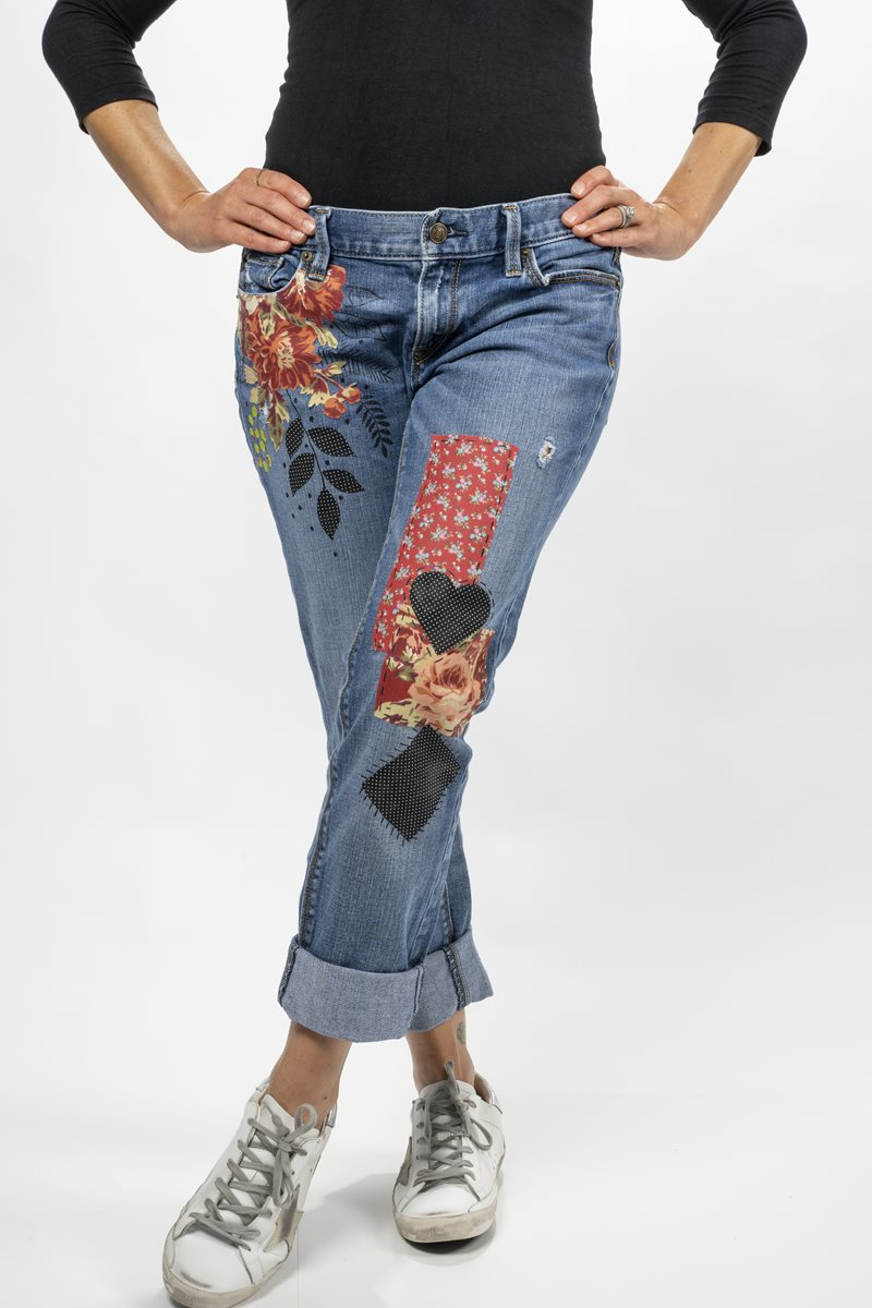 Jeans with Floral Fabric Accents