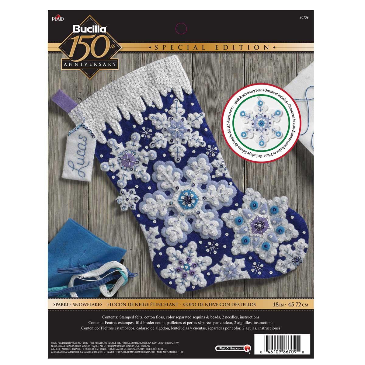 Bucilla ® Seasonal - Felt - Stocking Kits - Sparkle Snowflakes - 86709