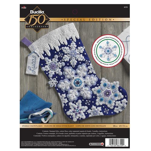 Bucilla ® Seasonal - Felt - Stocking Kits - Sparkle Snowflakes - 86709