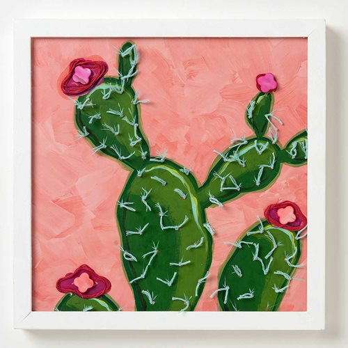 Mixed Media Cactus Painting