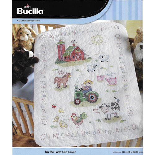Bucilla ® Baby - Stamped Cross Stitch - Crib Ensembles - On the Farm  - Crib Cover Kit - 45567