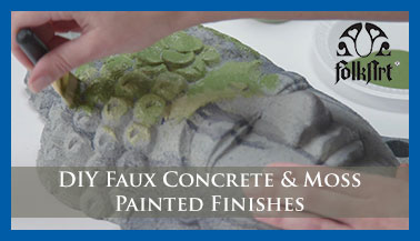 DIY Faux Concrete & Moss Painted Finishes from FolkArt