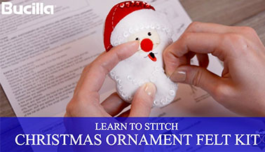 Learn to Stitch Felt Santa Christmas Ornament