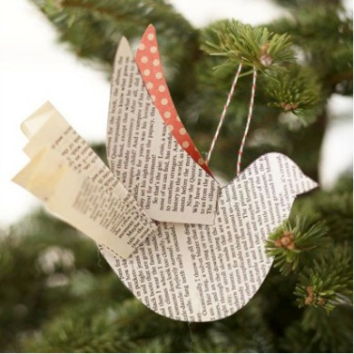 diy paper bird ornament printable template and tutorial available via better homes and gardens - How To Make Paper Christmas Decorations