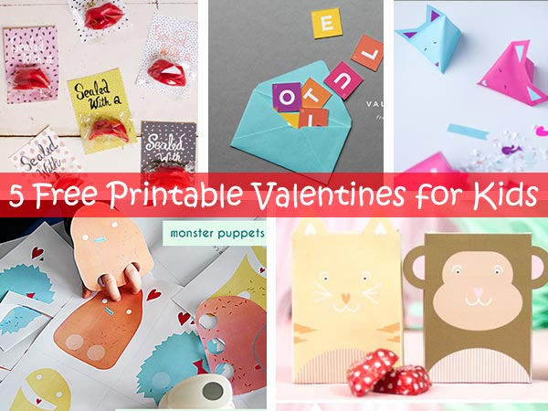 5 Free Printable Valentines for Kids