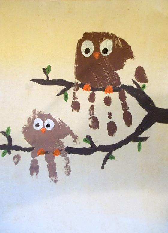 Owl Painting from handprints