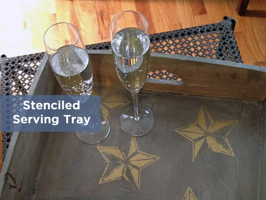 Stenciled Serving Tray for Your Oscar Party