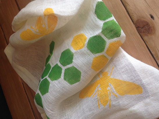 Stenciled Honeybee Napkin