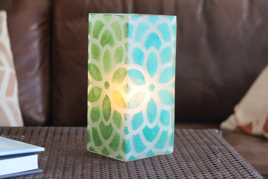 Stenciled Glass Candle Holder