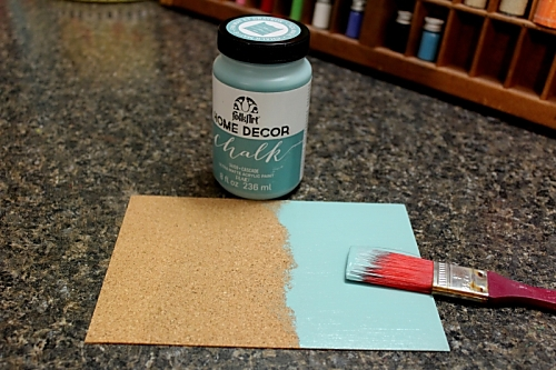 i started with folkart home decor chalk paint on a sheet of 5x7 corkboard after it was dry i added a second coat