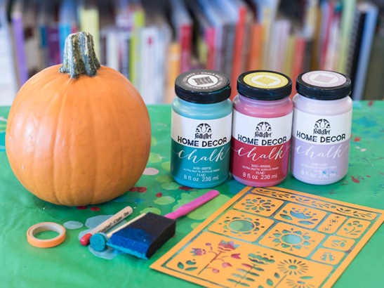 Handmade Charlotte FolkArt Home Decor Chalk Pumpkins