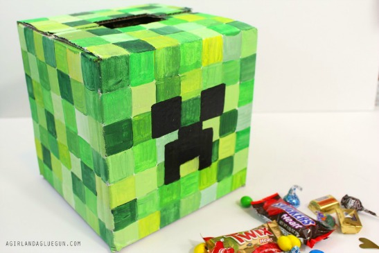 This Minecraft Inspired Valentineu0027s Day Card Box Is Sure To Munch Up  Popular Treats! Via A Girl And A Glue Gun.