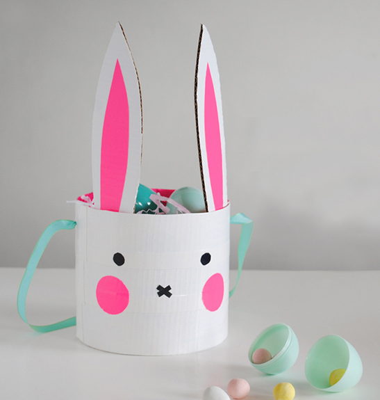 All You Need To Make This Bunny Basket DIY Via Mer Mag Is Cardboard Duct Tape And A Little Bit Of Imagination I Can Also See It Being Made With Some Fun