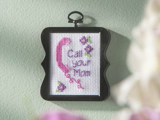 "Cross Stitch ""Call Your Mom"" Free Pattern Download!"