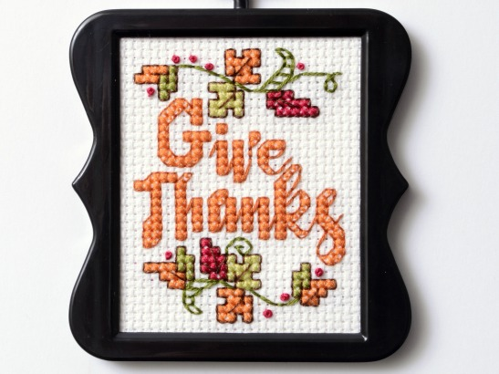 "Free ""Give Thanks"" Cross Stitch Pattern"