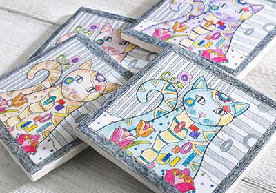 This Coloring Page From Marjorie Sarnats Creative Haven Cats Book Makes An Adorable Set Of Coasters To Use Around Your House Or As