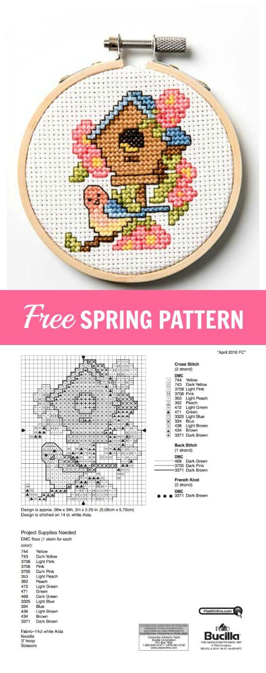 Free Springtime Cross Stitch Pattern Plaid Online