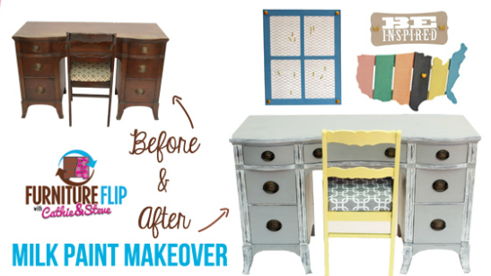Furniture Flip: Vintage Inspired Home Office Milk Paint Makeover