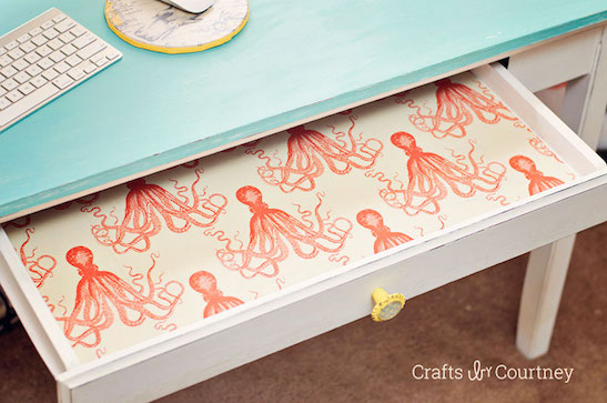 Fabric lined drawers using Fabric Mod Podge