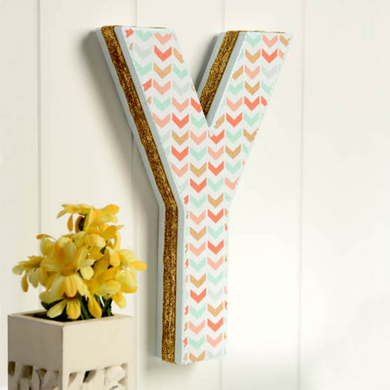 Fabric decorated monogram letter