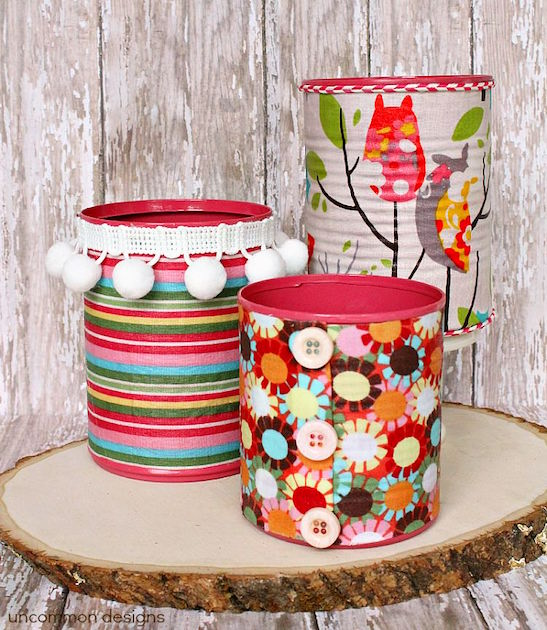 Fabric covered cans