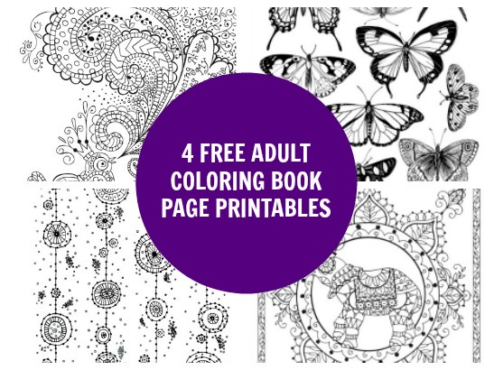 4 Free Adult Coloring Book Page Printables
