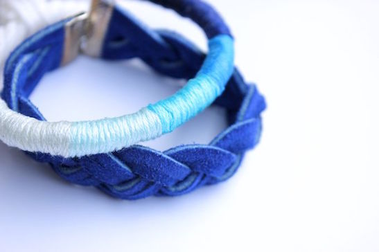 DIY thread-wrapped bracelet