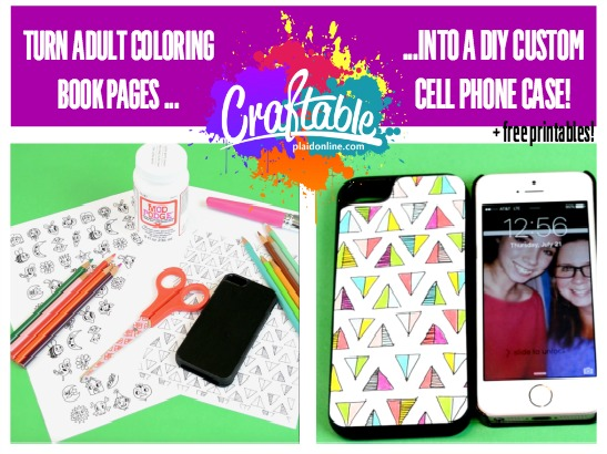 Upcycled DIY Phone Case from Adult Coloring Pages + Free Printables!