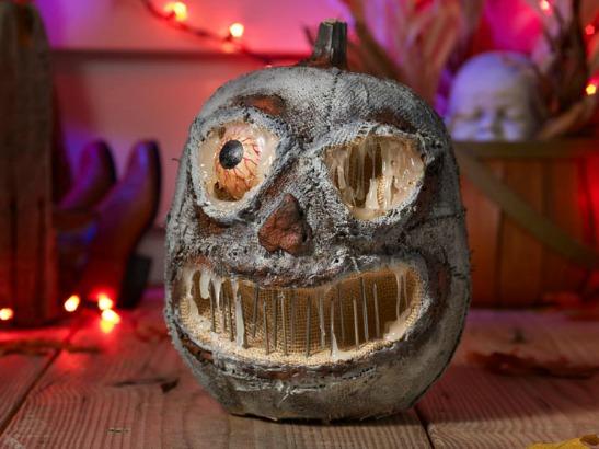 Super Scary Faux Concrete Pumpkin & 75+ No Carve DIY Halloween Pumpkin Decorating Ideas: The Ultimate ...
