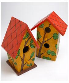 craft painting  orange roof birdhouses